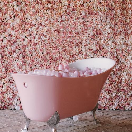 Bañera + fondo rosas