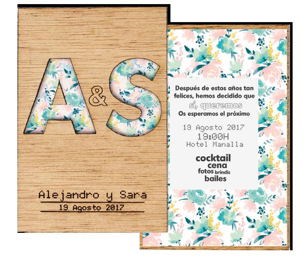Invitacion MADERA INICIALES